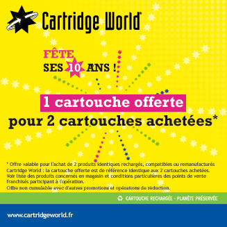 Promotion anniversaire Cartridge World Rennes
